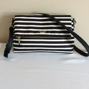 Kate Spade Nylon Black & White Striped Crossbody